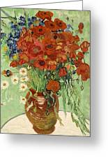 Vase With Daisies And Poppies Greeting Card