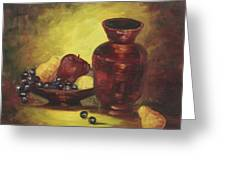 Vase With Fruit Bowl Greeting Card