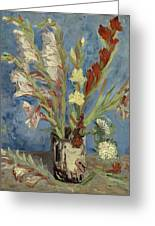 Vase With Gladioli And Chinese Asters Greeting Card