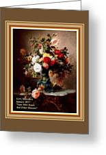 Vase With Roses And Other Flowers L A With Alt. Decorative Ornate Printed Frame. Greeting Card