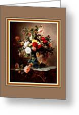 Vase With Roses And Other Flowers L B With Decorative Ornate Printed Frame. Greeting Card