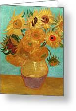 Vase With Twelve Sunflowers Greeting Card