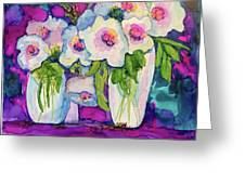 Vases Of White Flowers Greeting Card