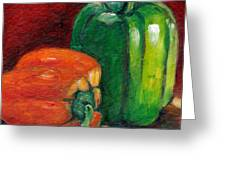 Vegetable Still Life Green And Orange Pepper Grace Venditti Montreal Art Greeting Card