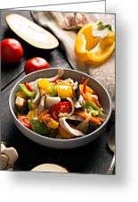 Vegetables Stir Fry Greeting Card