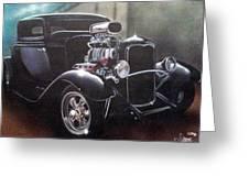 Vehicle- Black Hot Rod  Greeting Card