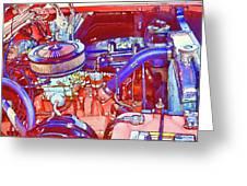 Vehicle Engine Close Up Greeting Card