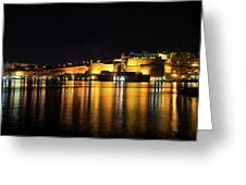 Velvety Reflections - Valletta Grand Harbour At Night Greeting Card