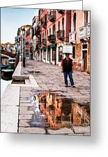 Venetian Baker, Reflection, Rain Puddle Greeting Card