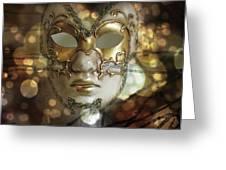 Venetian Golden Mask Greeting Card