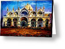 Venice - Pigeons On San Marco Square Greeting Card