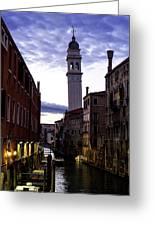 Venice Canal At Dusk Greeting Card