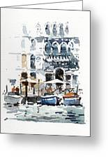 Venice Canal With Barges Greeting Card