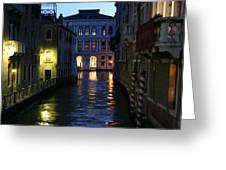 Venice Canals At Night Greeting Card