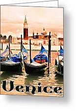 Venice, City Of Romance, Italy, Gondolas Greeting Card