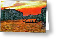 Venice Eventide Impasto Greeting Card