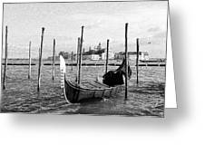 Venice. Gondola. Black And White. Greeting Card