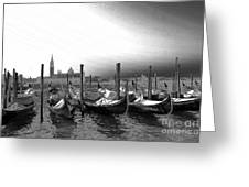 Venice Gondolas Black And White Greeting Card