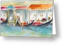 Venice Gondolas Greeting Card by Pat Katz