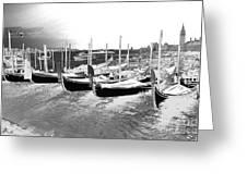 Venice Gondolas Silver Greeting Card