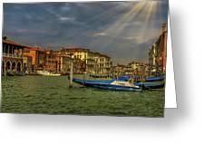Venice Grand Canal God Sun Rays Greeting Card