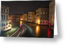 Venice Night Traffic Greeting Card by Andrew Lalchan