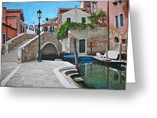 Venice Piazzetta And Bridge Greeting Card by Italian Art