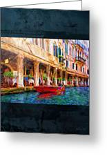 Venice Red Boat And Outdoor Cafe Greeting Card