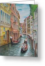 Venice Waterway  Italy Greeting Card by Charles Hetenyi