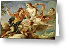 Venus And Adonis  Greeting Card by Charles Joseph Natoire