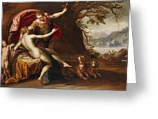 Venus And Adonis With Hounds Greeting Card