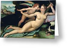 Venus And Cupid Greeting Card by Alessandro Allori