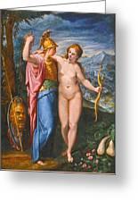 Venus And Minerva In A Landscape Greeting Card
