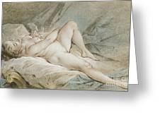 Venus Playing With Two Doves Greeting Card
