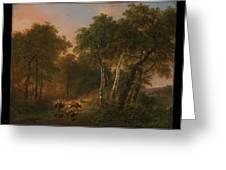 Verboeckhoven  Eugene   Forest Landscape With Animals Greeting Card