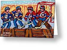 Verdun Hockey Rink Paintings Edmonton Oilers Vs Hometown Habs Quebec Hockey Art Carole Spandau       Greeting Card