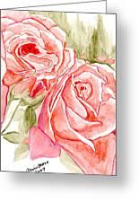 Vermilion Pink Roses Greeting Card