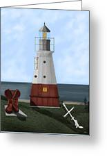 Vermillion River Lighthouse On Lake Erie Greeting Card