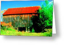 Vermont Barn With Really Red Roof  Greeting Card