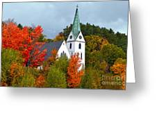 Vermont Church In Autumn Greeting Card by Catherine Sherman