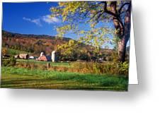 Vermont Farm In Autumn Greeting Card
