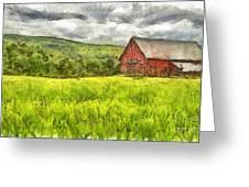 Vermont Farm Landscape Pencil Greeting Card