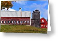 Vermont Farm Woodstock Vt Red Barn Greeting Card