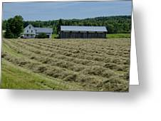 Vermont Farmhouse With Hay Greeting Card