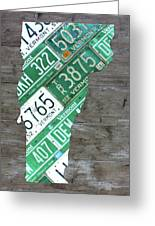 Vermont License Plate Map Art Edition 2017 Greeting Card
