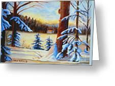Vermont Log Cabin Maple Syrup Time Greeting Card