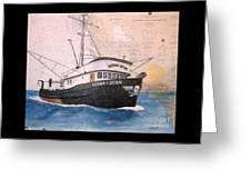 Verna Jean Fishing Boat Nautical Chart Map Greeting Card