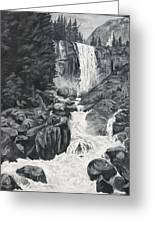 Vernal Falls Black And White Greeting Card