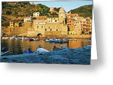 Vernazza, Italy, At Sunset Greeting Card