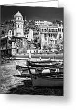 Vernazza Boats And Church Cinque Terre Italy Bw Greeting Card